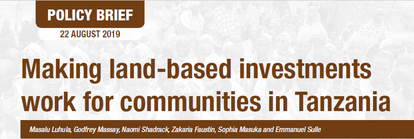 Making land-based investment work for communities in Tanzania
