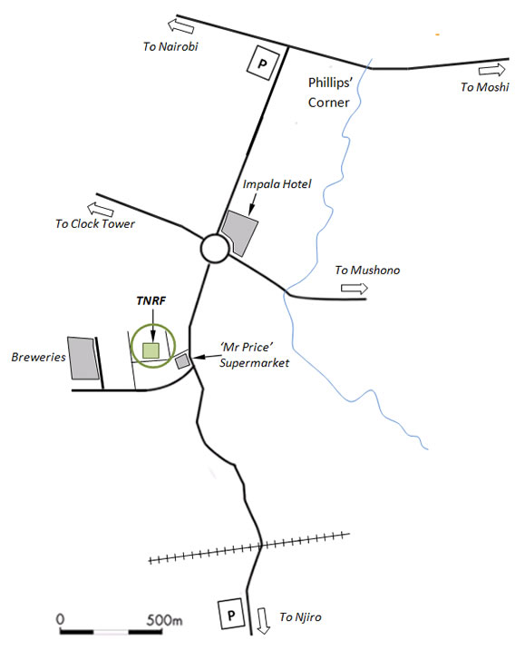 Map to new TNRF Office