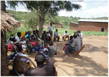 Villagers being informed about REDD activities in TFCG/MJUMITA project
